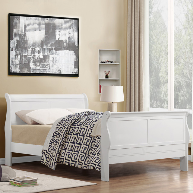 phillip white full size sleigh bed contemporary bedroom furniture sets
