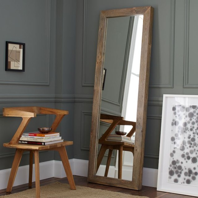 Parsons Floor Mirror Natural Solid Wood Traditional