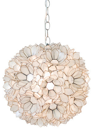 worlds away capiz shell floral venus pendant clear bord de mer suspension luminaire par. Black Bedroom Furniture Sets. Home Design Ideas