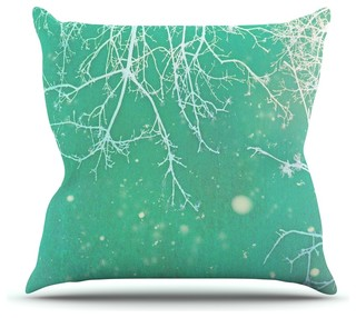 Alison Coxon Quot White Branches Quot Teal Throw Pillow