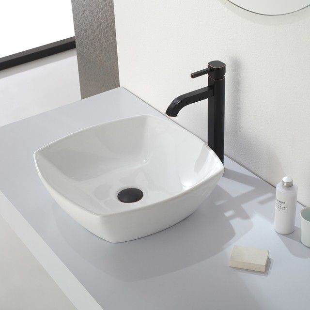 Kraus Glass Vessels & Bathroom Faucets - Contemporary - Bathroom Sink ...