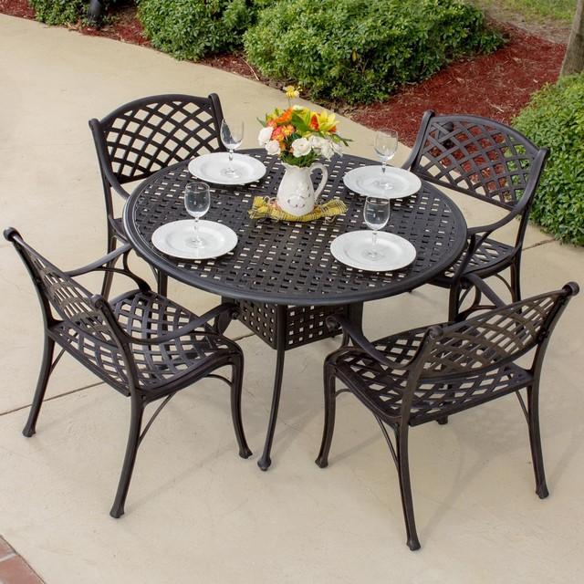 heritage 4 person cast aluminum patio dining set modern