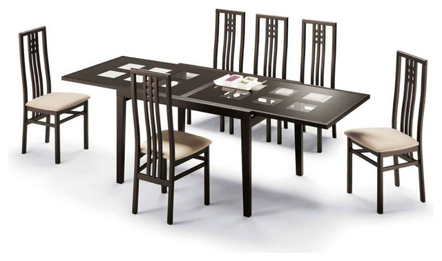 High class glass top designer table set contemporary for Dining table design images