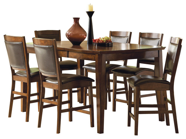 vancouver 7 piece counter height set with leaf traditional dining sets