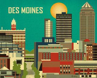 Des Moines Iowa Skyline Eclectic Artwork Chicago By Loose Petals Llc