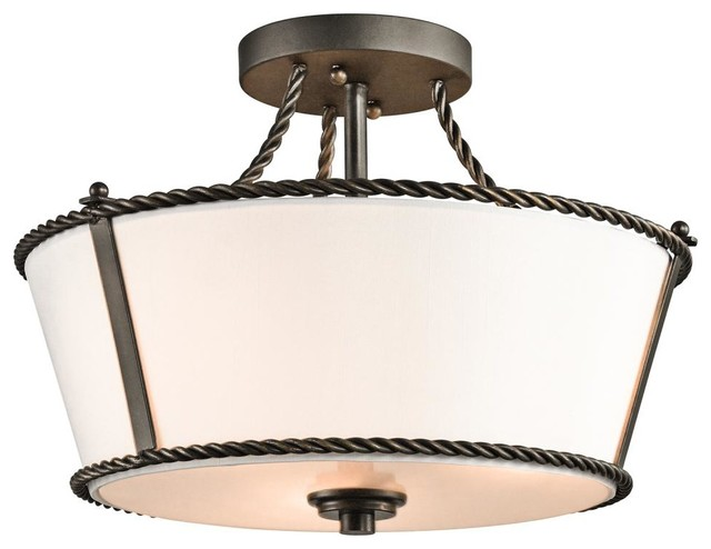 three light olde bronze drum shade semi flush mount. Black Bedroom Furniture Sets. Home Design Ideas
