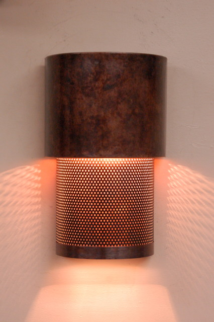 mottled copper and mesh wall sconce - Contemporary - Wall Sconces - Austin - by Lightcrafters, Inc.