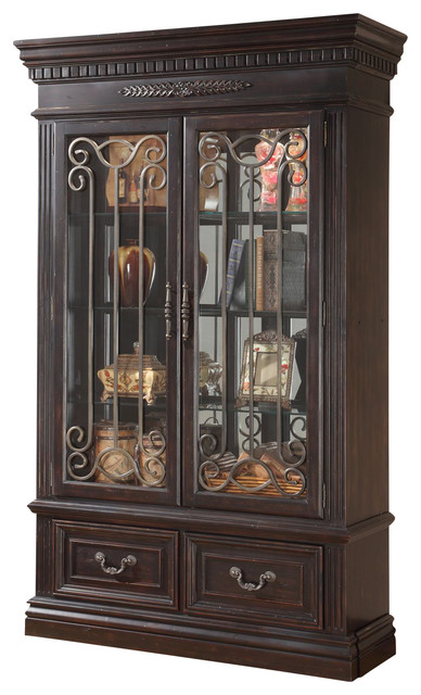 Parker House Grand Manor Palazzo 2-Piece Curio Display Wall, Burnished Black - Transitional ...
