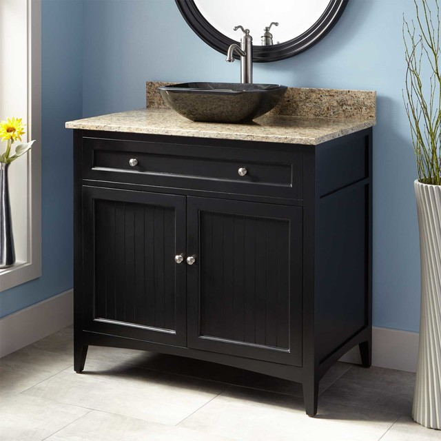 36 Bedford Vessel Sink Vanity Black Transitional Bathroom Vanitie