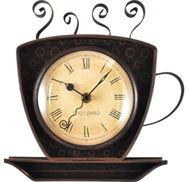Bronze Coffee Cup Wall Clock farmhouse wall clocks