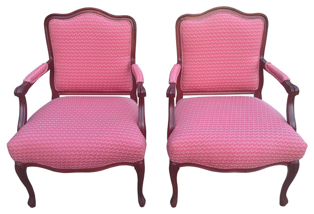 Louis XV Style Pink Accent Chairs S 2 contemporary dining