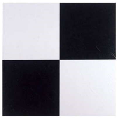 """Peel and Stick Floor Tile 12""""x12"""" 80 sq ft Black and"""