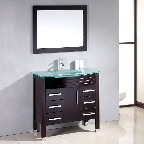 Contemporary 36 inch Glass Single Sink Bathroom Vanity contemporary bathroom vanities and sink consoles chicago