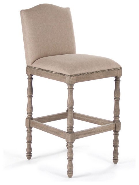 Debussy French Country Reclaimed Oak Linen Bar Stool