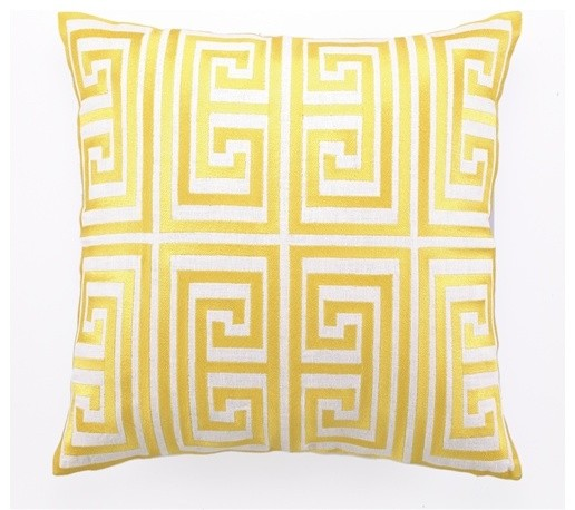 Greek Key Embroidered Pillow, Acid Yellow - Modern - Decorative Pillows - by Burke Decor