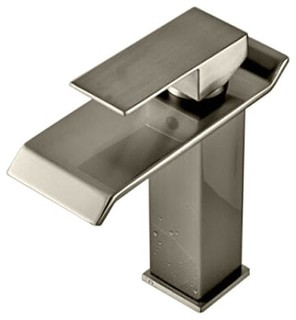 Waterfall Sink Faucet, Brushed Nickel - Contemporary ...