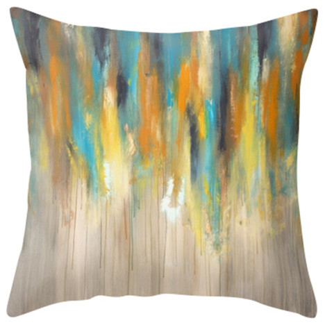 Decorative Pillows And Throws : Blue, Yellow and Grey Decor - Rainy Day Decorative Throw Pillow - Contemporary - Decorative ...