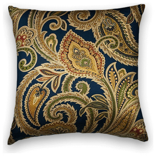 Navy Blue Gold Paisley Throw, - Traditional - Decorative Pillows - by Cody & Cooper Designs