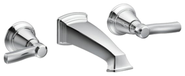 Moen Ts6204 Two Handle Wall Mount Bathroom Faucet Traditional Bathroom Sink Faucets By