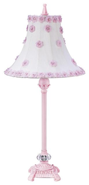 pink scroll lamp with petal flower shade landhausstil. Black Bedroom Furniture Sets. Home Design Ideas