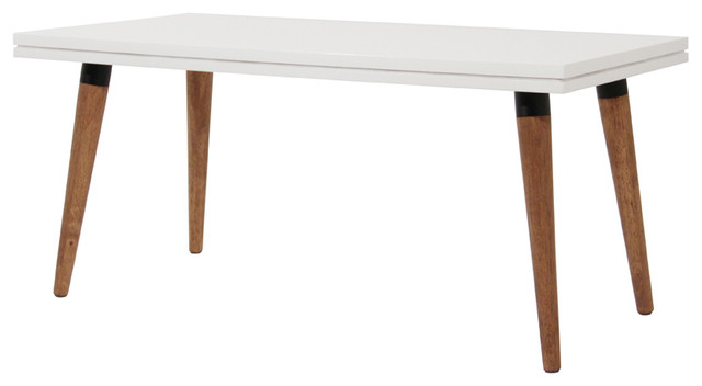 Table basse double top bois blanc contemporary coffee for Table basse double plateau