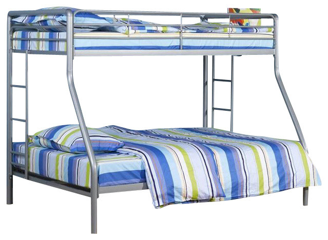 silver metal twin over twin bunk bed 1