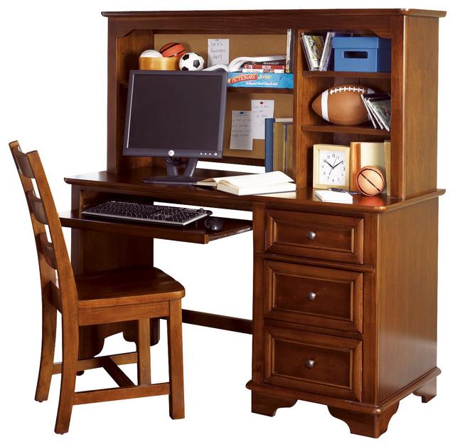 Lea Deer Run Computer Desk With Hutch In Brown Cherry