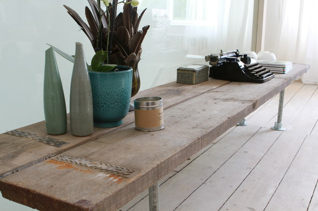 Industrial Reclaimed Scaffolding Plank And Steel Pipe Bespoke Furniture Fittings Contemporary