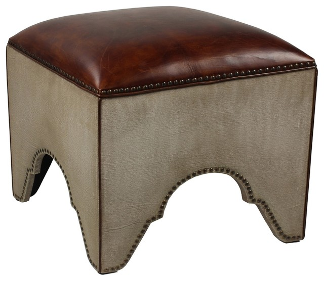 Elegant Arches Stool In Canvas Leather By Bseid Mediterranean Vanity Stools And Benches