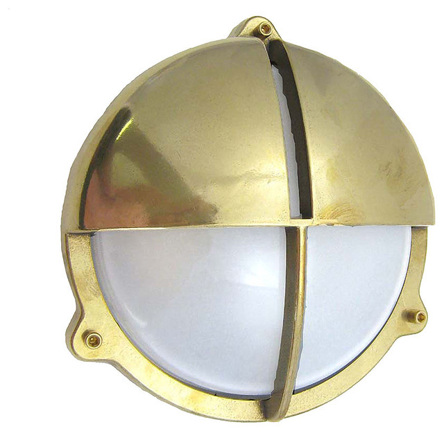 Round Ball Wall Lights : Round Cage Light with Hood - Beach Style - Wall Sconces - by Shiplights