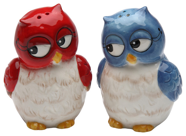 Couple owls salt and pepper shakers set of 2 contemporary salt and pepper shakers and mills - Owl salt and pepper grinders ...