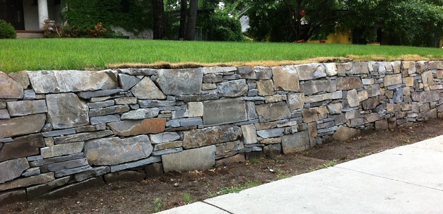 French Country Stone Retaining Wall Rustic Landscaping