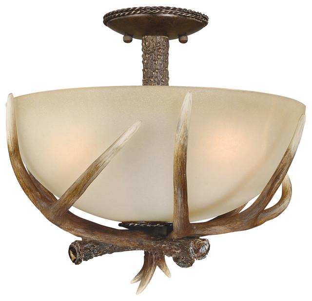 yoho black walnut semi flush mount rustic flush mount ceiling lighting. Black Bedroom Furniture Sets. Home Design Ideas