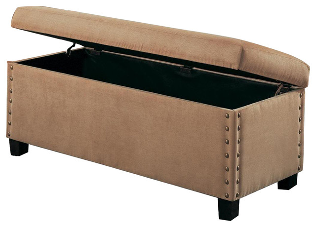 Tan Microfiber Storage Ottoman Bench With Nailhead Trim By