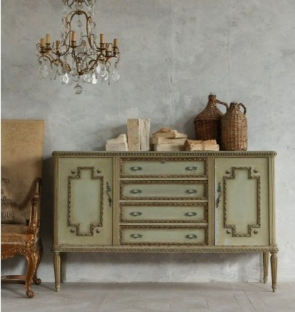 Vintage Louis Xvi Style Sideboard In Sea Green Finish