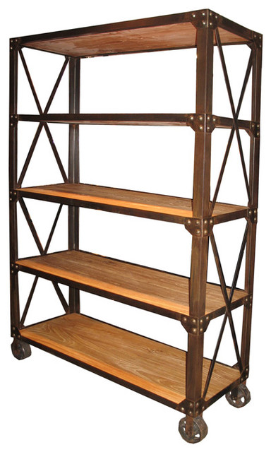 old elm shelf with wheels modern bookcases by noir. Black Bedroom Furniture Sets. Home Design Ideas