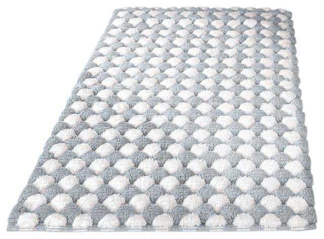 Silver Contemporary Machine Washable Cotton Bathroom Rug