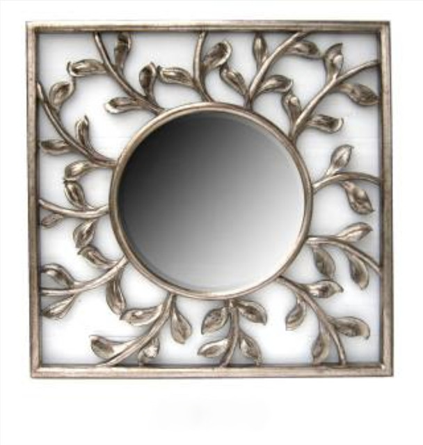 Square Silver Frame with Round Mirror contemporary-wall-mirrors