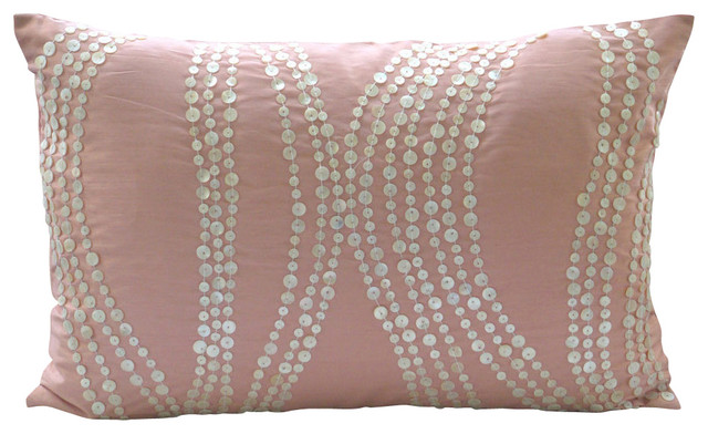 Soft Decorative Throw Pillows : Angelic Soft Lumbar Throw Pink Silk Pillow Cover, 12x14 traditional-decorative-pillows