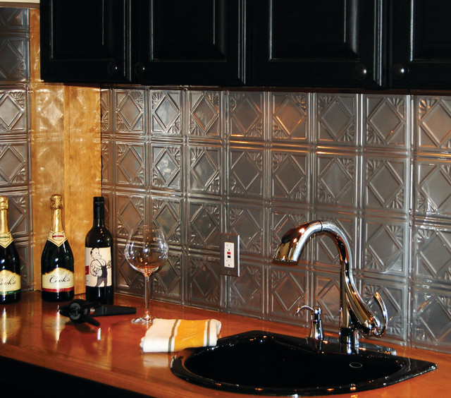Tin backsplash brushed nickel tin tiles contemporary tile - Metal Ceiling Tiles Backsplash Roselawnlutheran