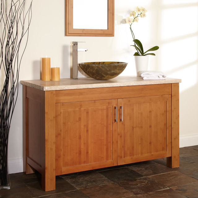 48 bashe bamboo vessel sink vanity modern bathroom for Bamboo kitchen cabinets australia