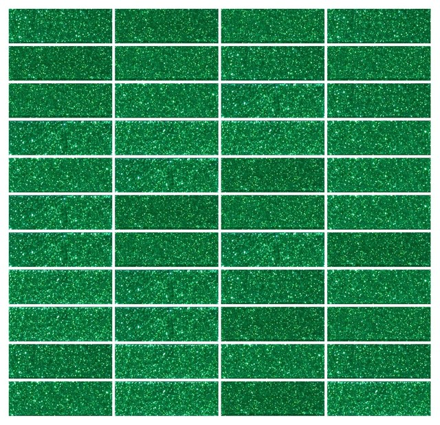 "1""x3"" Emerald Green Glitter Glass Subway Tile Stacked"