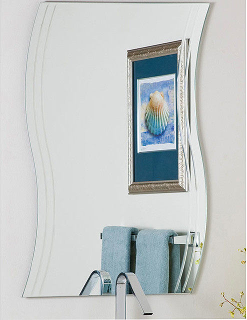 Frameless Wave Wall Mirror Contemporary Bathroom Mirrors By