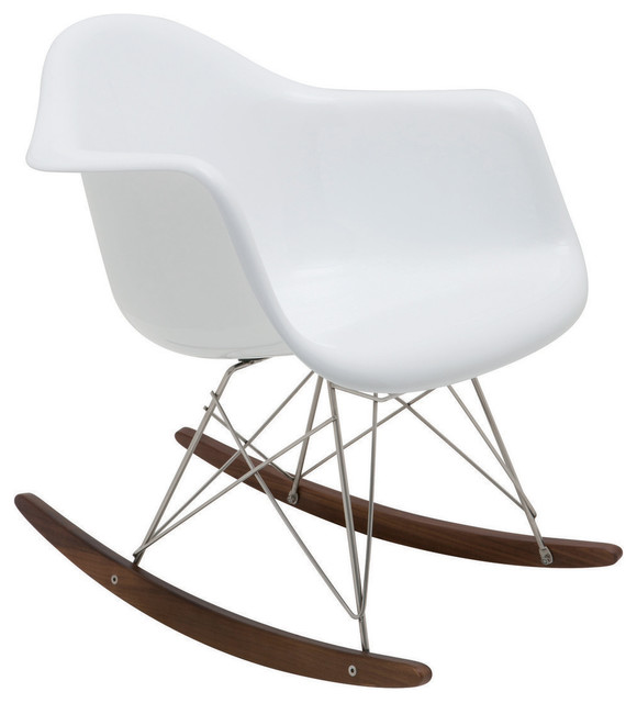Baha Rocking Chair In White Fiberglass By Nuevo HGEM111 Modern Living Room