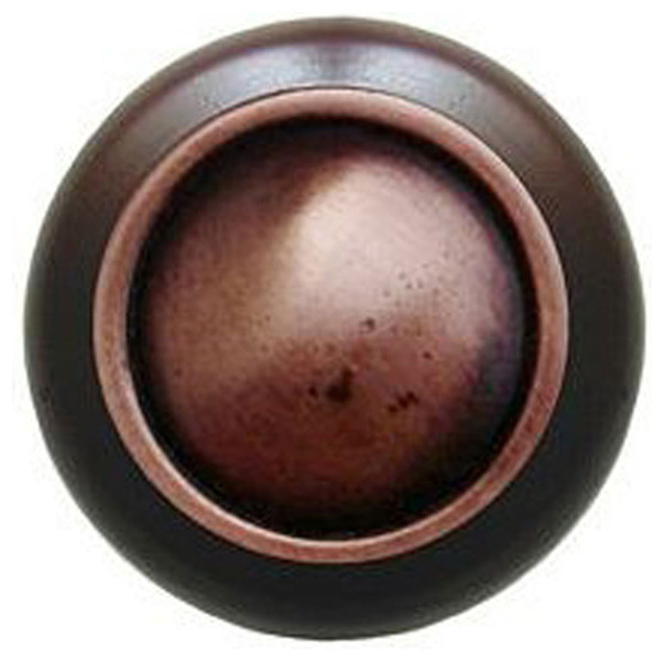 Plain Dome Walnut Wood Knob (antique copper) - Traditional - Cabinet And Drawer Knobs - by ...