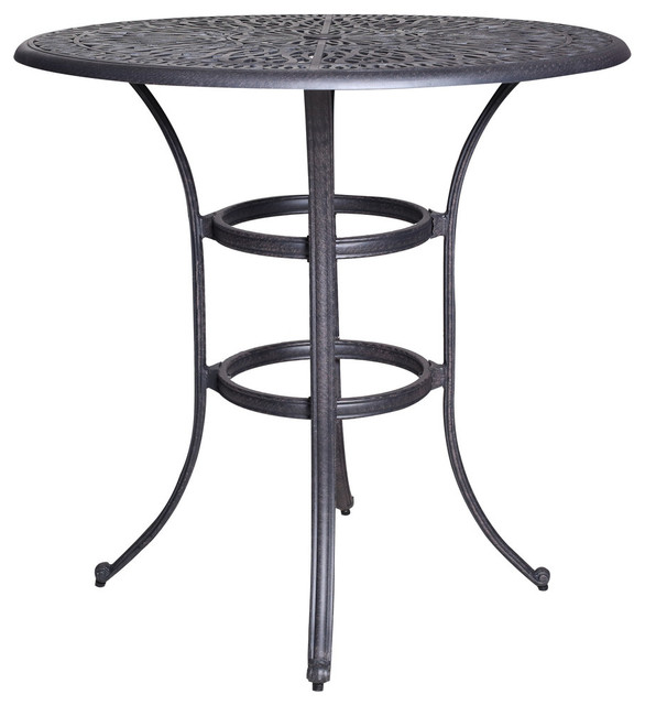 Vienna Bar Height Round Table Mediterranean Outdoor Pub And Bistro Tables