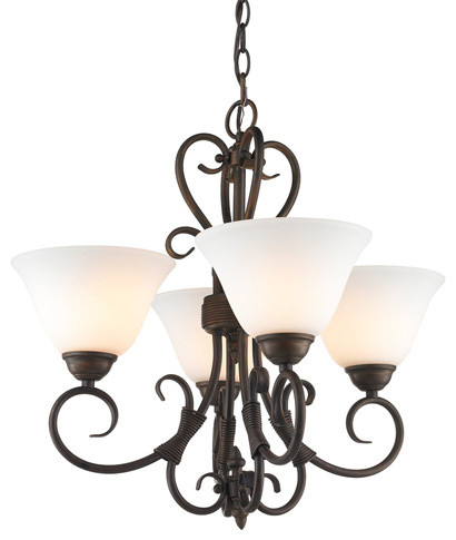 Homestead Light Mini Chandelier Rubbed Bronze With Tea Stone