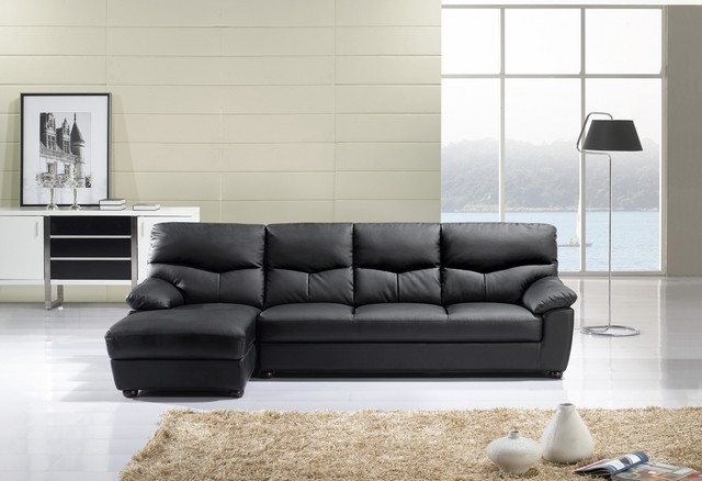 american eagle modern black leather sectional sofa set couch chaise. Black Bedroom Furniture Sets. Home Design Ideas