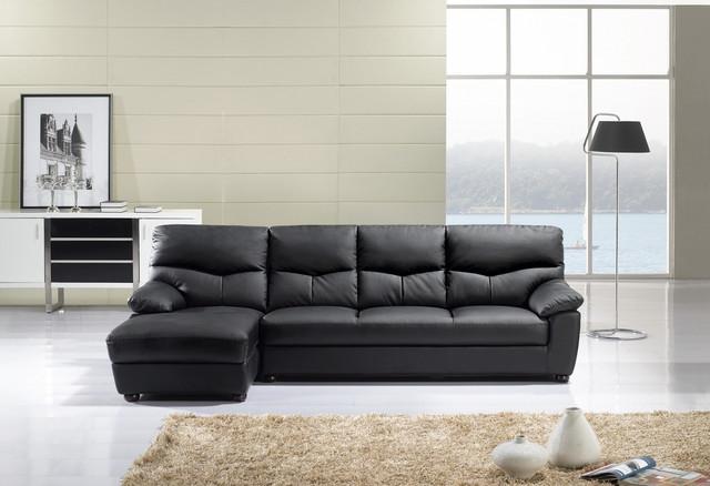 American Eagle Modern Black Leather Sectional Sofa Set