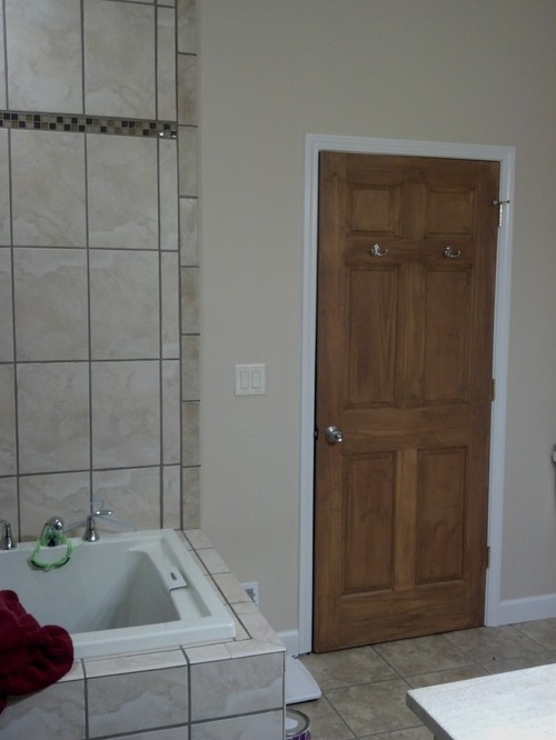 Keep Wood Door With White Trim Or Stain Everything